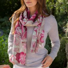 Large pink floral scarf (long)