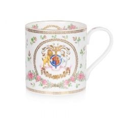 Queen's 95th birthday 2021 official commemorative fine bone china mug - pink rose design inspired by Windsor Castle's rose gardens. Featuring a specially designed coat of arms
