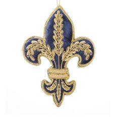Fleur-de-lis luxury embroidered Christmas hanging decoration