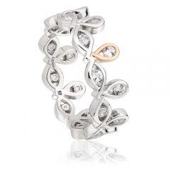 Clogau silver, rose gold & white topaz Royal Crown ring