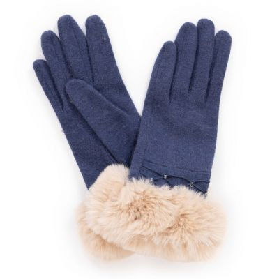 Navy wool gloves