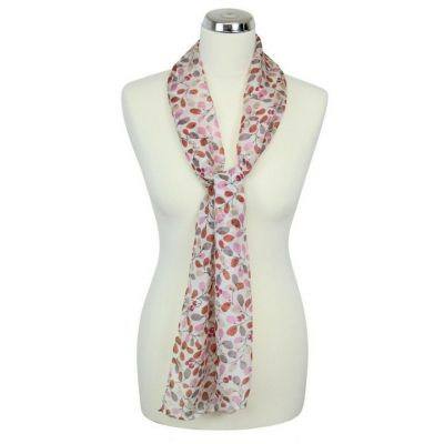Orange and white 'Berries' silk summer scarf main image