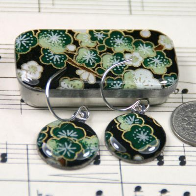 Sakura green sixpence earrings with tin