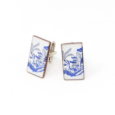 Pagoda willow pattern blue and white rectangle ceramic cufflinks