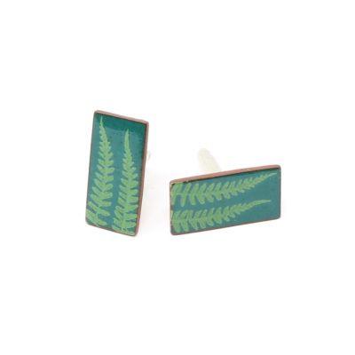 Fern rectangle ceramic cufflinks