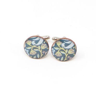 Heritage floral round ceramic cufflinks