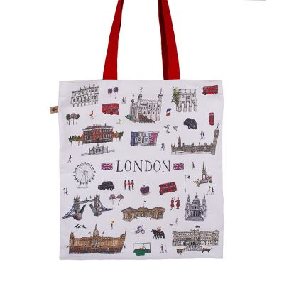 London illustrated icons canvas tote bag