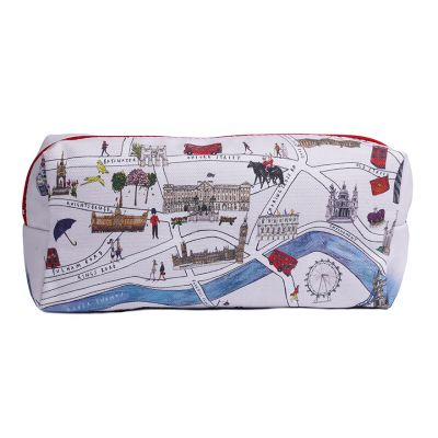 London Map Illustration Cosmetic Bag