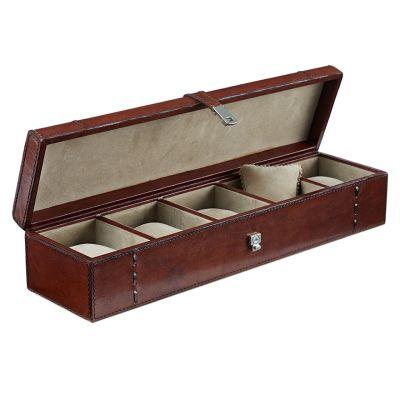 leather watch trinket box five slots open