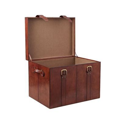 leather heirloom trunk open