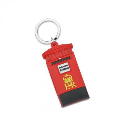 Red post box and telephone box keyring