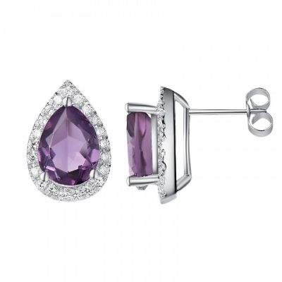 H.Azeem Amethyst stud earrings