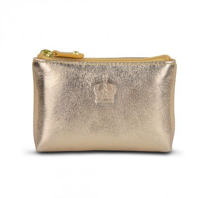 Crown gold leather coin purse