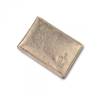 Crown gold leather travel card holder