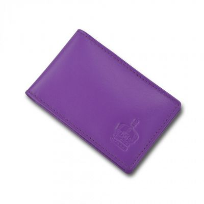 Crown purple leather travel card holder