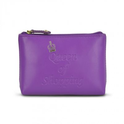Purple leather 'Queen of Shopping' coin purse