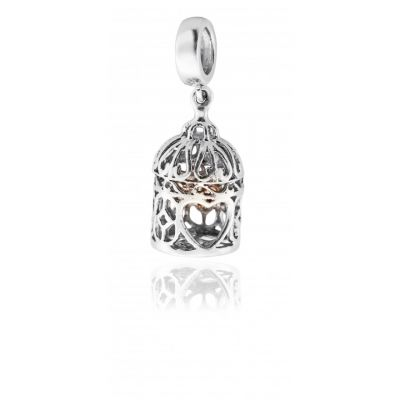 Clogau Princess collection - Birdcage silver and rose gold charm