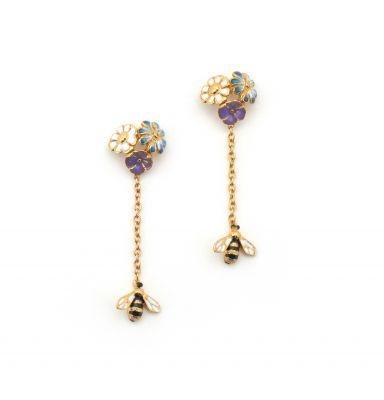 Floral Bee Drop Earrings Gold