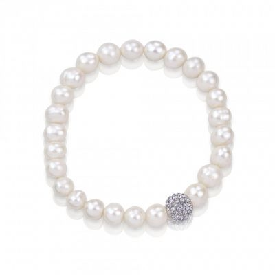 Sparkling grey crystal ball real pearl bracelet