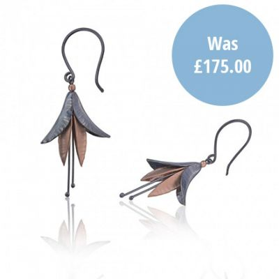 Silver and Rose Gold Fuchsia drop earrings