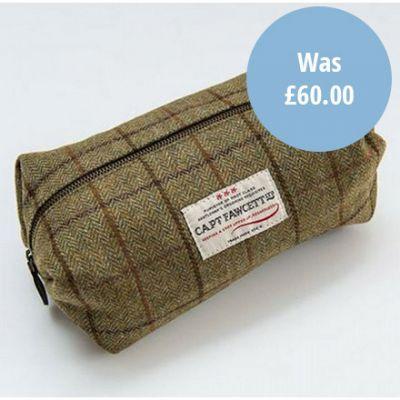 Luxury tweed wash bag