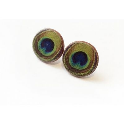 peacock feather stud earrings