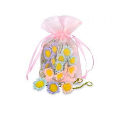 White daisies organza party bag