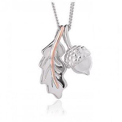 Clogau Gold silver and rose gold oak leaf and acorn pendant