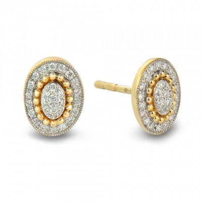 9ct yellow gold diamond oval stud earrings