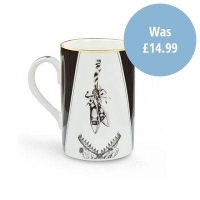 Beware of the Wear trap black & white illustrated shoe design fine bone china mug with gold rim