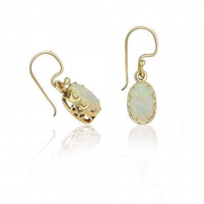 9ct yellow gold opal drop earrings