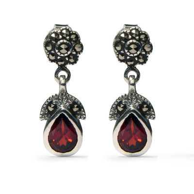 Marcasite and garnet drop earrings