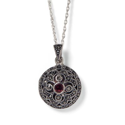 Round garnet and marcasite locket
