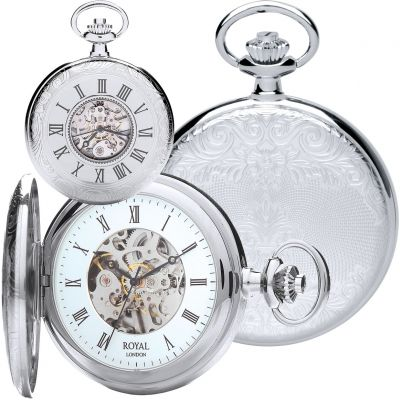 Half hunter pocket watch with time telling window
