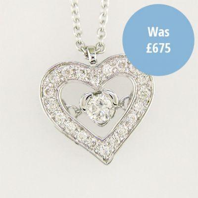 Diamond heart pendant on white gold