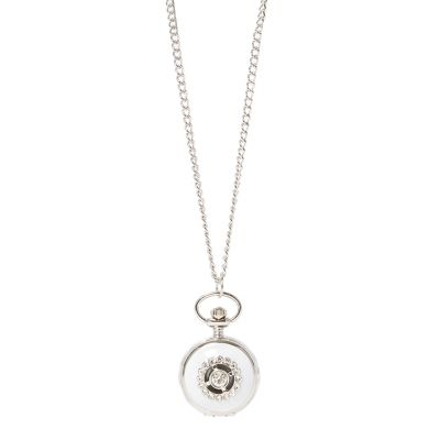 Round watch ivory crystal necklace