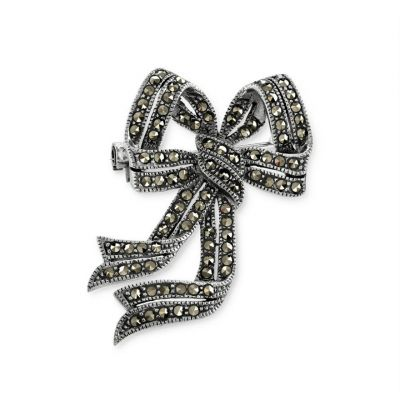 Large marcasite bow brooch