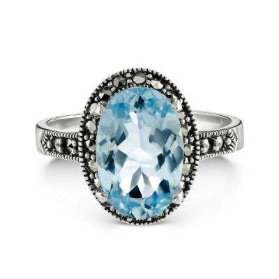 Blue topaz oval silver cocktail ring with Swiss Swarovski marcasite surround