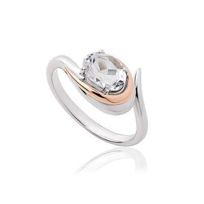Serenade rose gold and white topaz ring