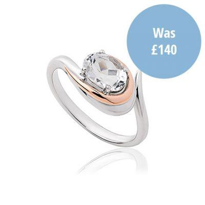 Serenade rose gold and white topaz ring