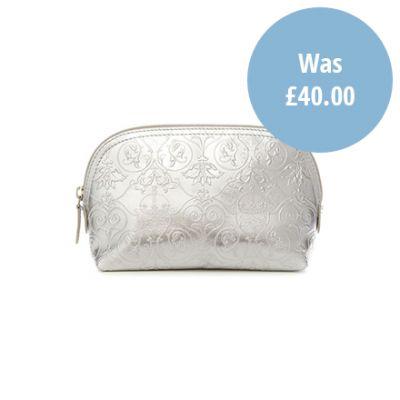 Royal Victoria silver metallic leather makeup bag