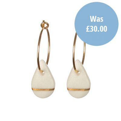 Porcelain raindrop on Gold hoop earrings