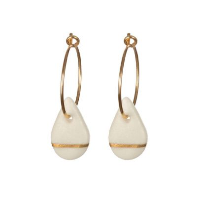 Porcelain raindrop on Gold hoop earrings