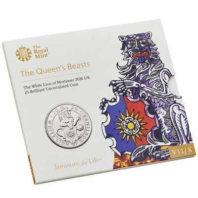 The Royal Mint Queen's Beasts The White Lion of Mortimer 2020 UK £5 brilliant uncirulated coin