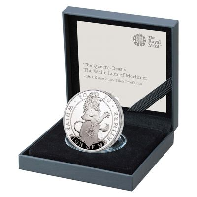 The Royal Mint Queen's Beasts The White Lion of Mortimer 2020 UK £2 Silver proof coin