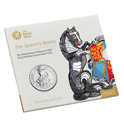 The Royal Mint Queen's Beasts The White Horse of Hanover 2020 UK £5 brilliant uncirculated coin
