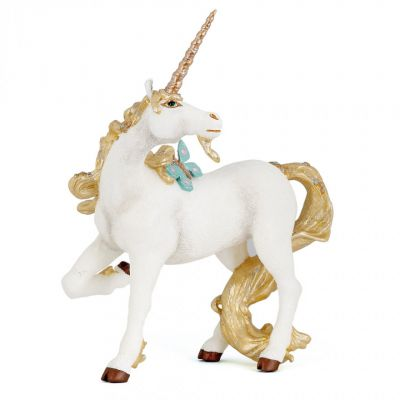 White unicorn with gold horn and tail model toy