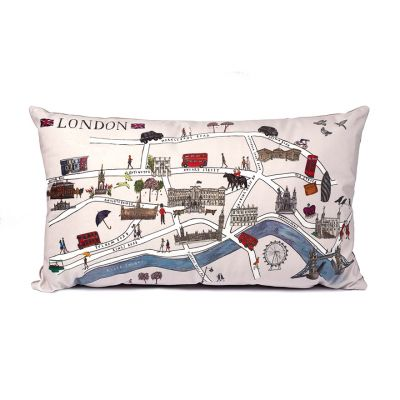 London illustrated map velour cushion