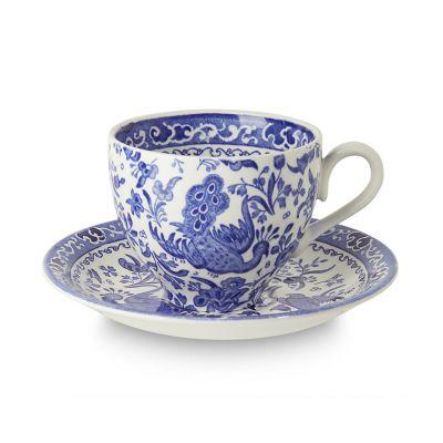 Blue Regal Peacock earthenware tea cup and saucer