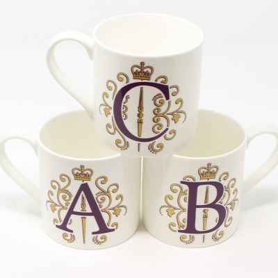 Alphabet fine bone china mug